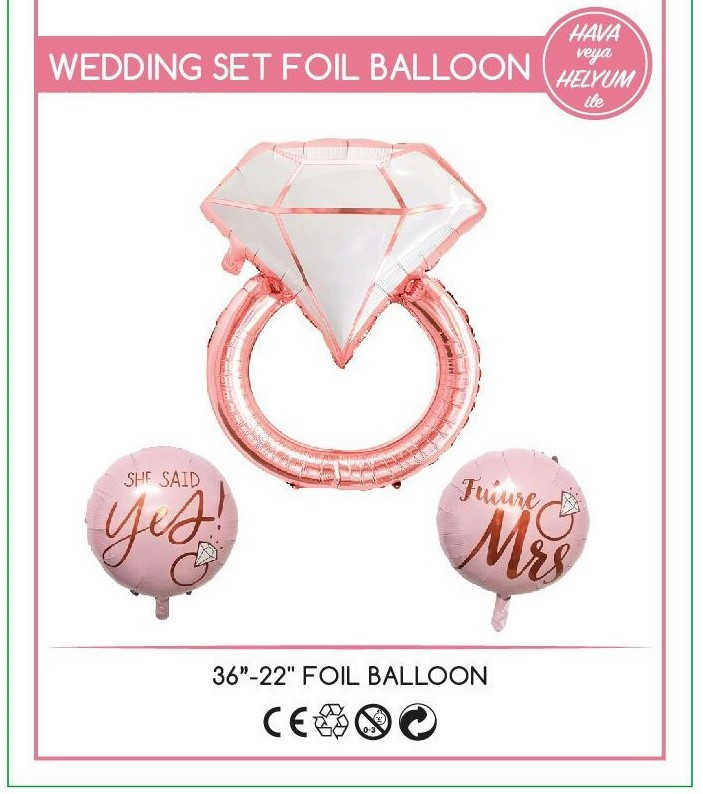 WEDDİNG YÜZÜK FOLYO BALON SET 3 LÜ